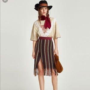 Zara Tweed Fringe Midi Skirt Size Small
